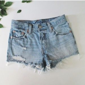 Levis 501 Cut Off Distressed Distroyed Jean Shorts
